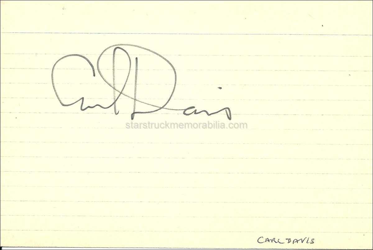 Carl Davis Signed 6x4 White Card Autograph