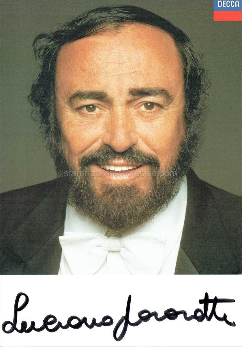 Luciano Pavarotti Signed 8x6 Photocard Autograph
